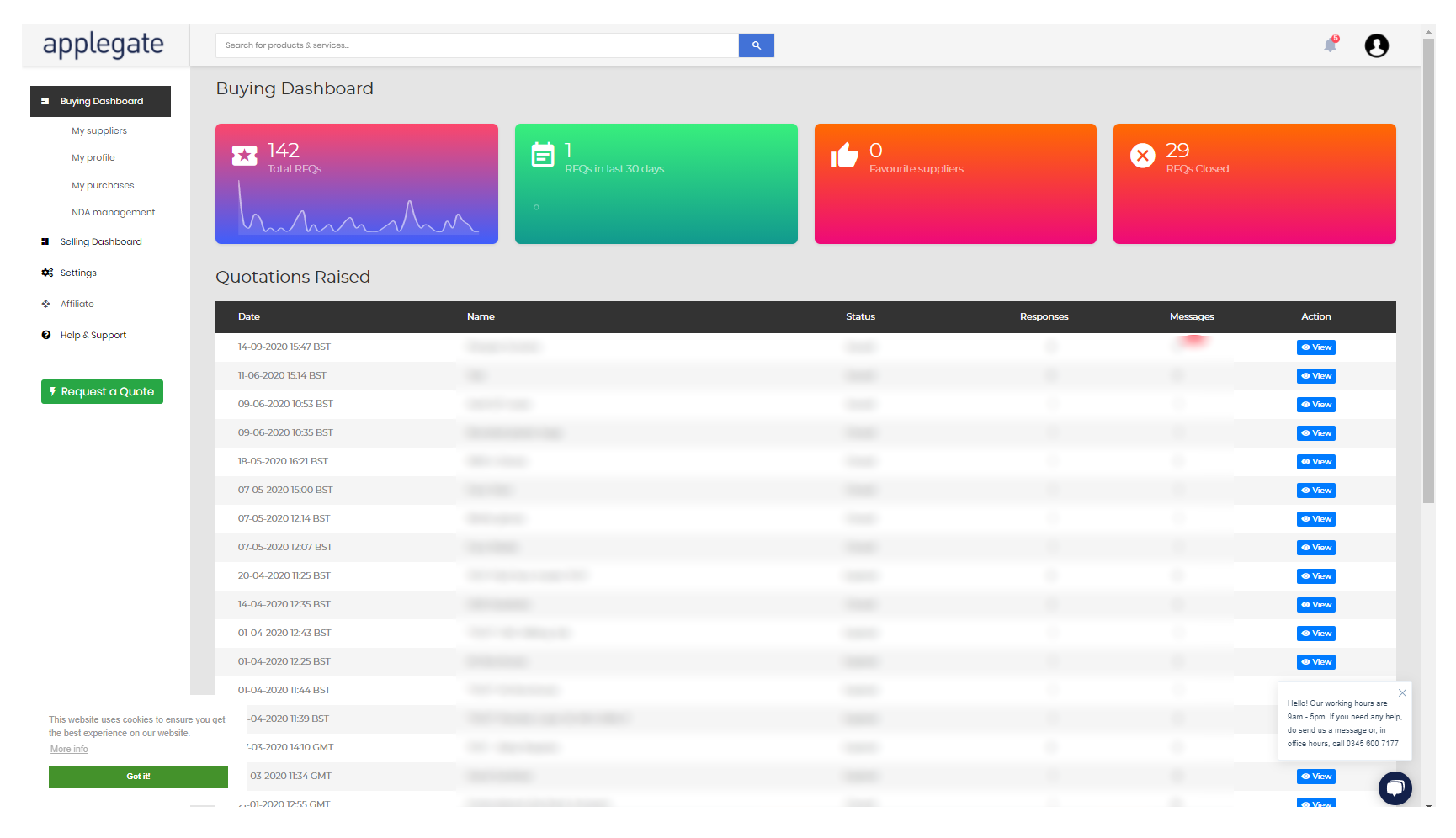 Buyer dashboard with border